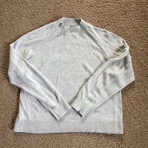 Everlane Gray Cotton Mockneck Crop Sweater